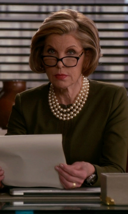 Christine Baranski with Burberry Square Optical Frames Eyeglasses in The Good Wife