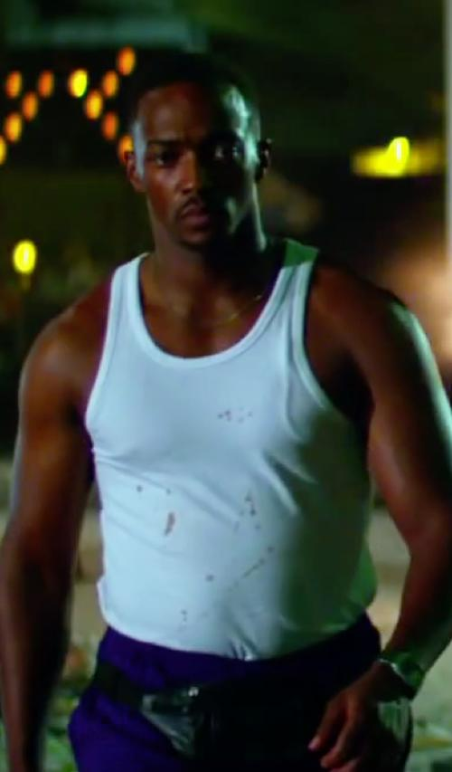 Anthony Mackie with Diesel Essential Simon Cotton Tank Top White in Pain & Gain