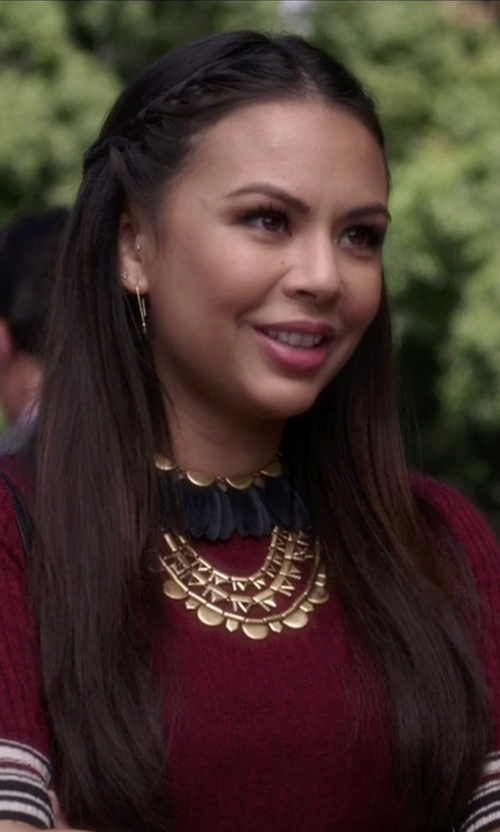 Janel Parrish with Stella & Dot  Plume Necklace in Pretty Little Liars