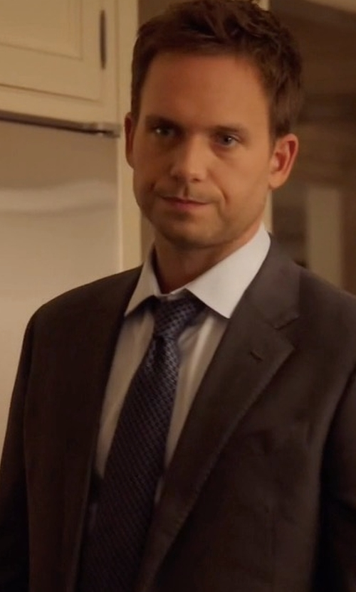 Patrick J. Adams with Eton Woven Dotted Circles Neat Silk Tie in Suits