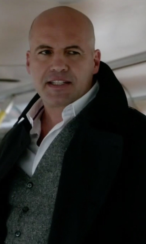 Billy Zane with Costume National Long-Sleeve Belted Rain Coat in Guilt