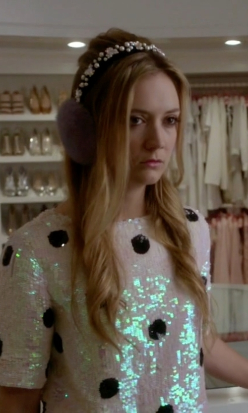 Billie Lourd with Asos Collection Spot Sequin Tee in Scream Queens