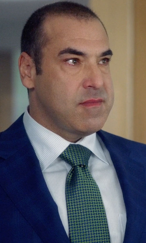 Rick Hoffman with Brioni Diamond-Weave French-Cuff Shirt in Suits