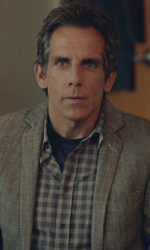 Ben Stiller with Patagonia 'Back Step' Check Short Sleeve Sport Shirt in While We're Young