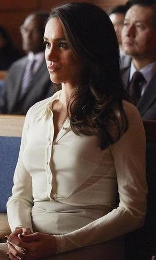Meghan Markle with Burberry London Sheer Sleeve Shirt in Suits