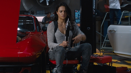Michelle Rodriguez with Joe's Jeans Icon Faux Suede Ankle Skinny Pants in The Fate of the Furious