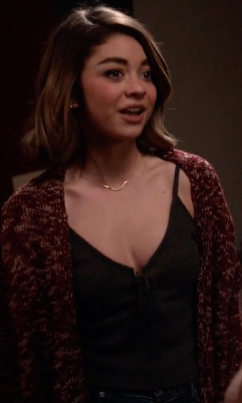 Sarah Hyland with American Eagle Outfitters Don't Ask Why Crop Tank Top in Modern Family