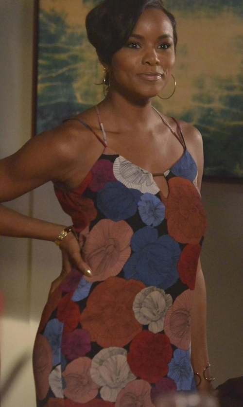 LeToya Luckett with Socialite Bar Detail Print Camisole Shift Dress in Rosewood