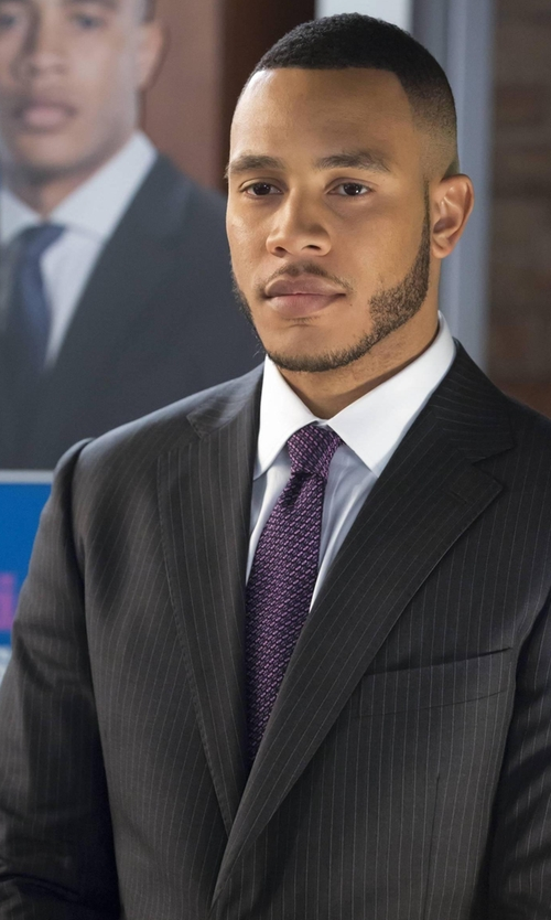 Trai Byers with Armani Collezioni Stripe Worsted Wool Sartorial Suit in Empire