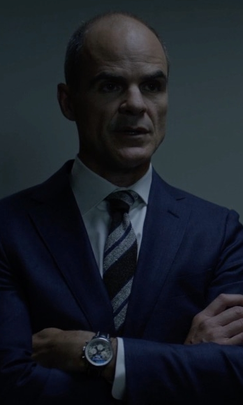 Michael Kelly with Eton Striped Silk Satin Tie in House of Cards