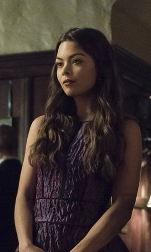 Scarlett Byrne with Anne Klein Asymmetrical Sleeveless Bodycon Dress in The Vampire Diaries