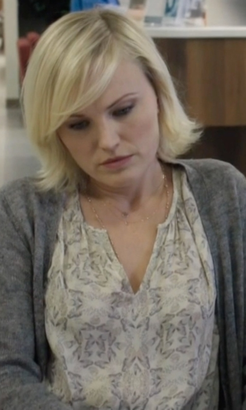 Malin Akerman with Kut From The Kloth 'Jasmine' Floral Print Roll Sleeve Blouse in Billions