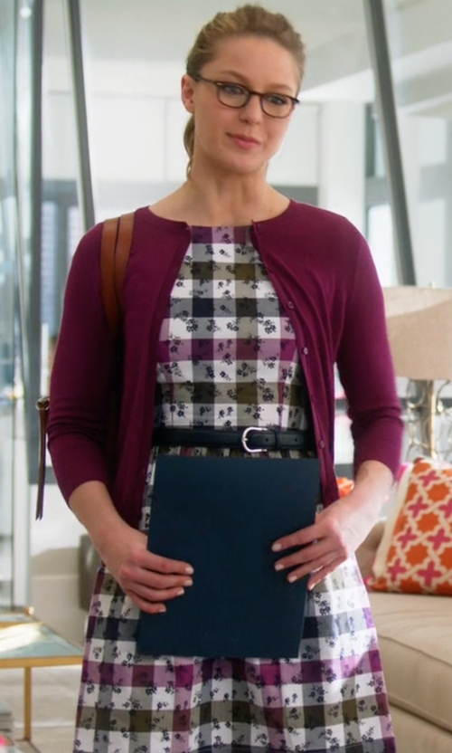 Melissa Benoist with Brooks Brothers Cotton Gingham Dress in Supergirl