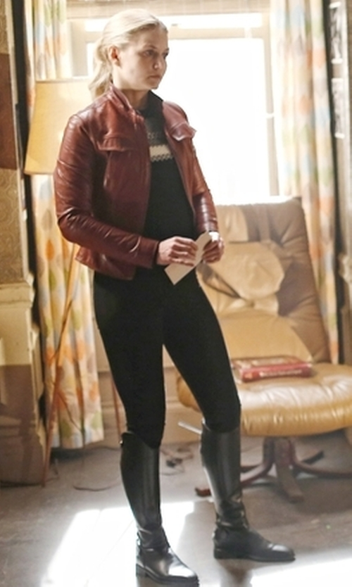 Jennifer Morrison with Mango Pocket Leather Jacket in Once Upon a Time