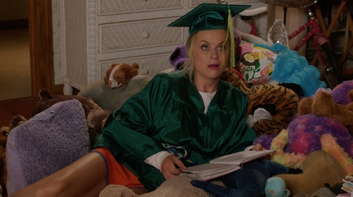 Amy Poehler with Graduation Source Shiny Emerald Green Cap & Gown in Sisters