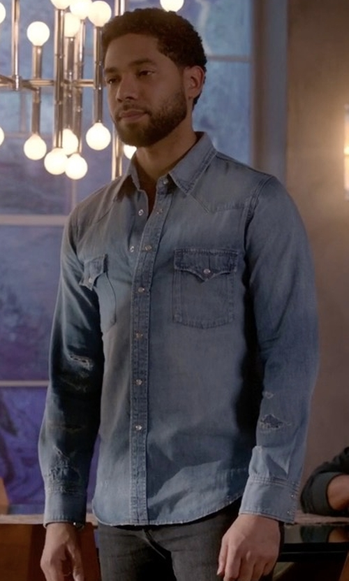 Jussie Smollett with Saint Laurent Oversized Distressed Denim Western Shirt in Empire