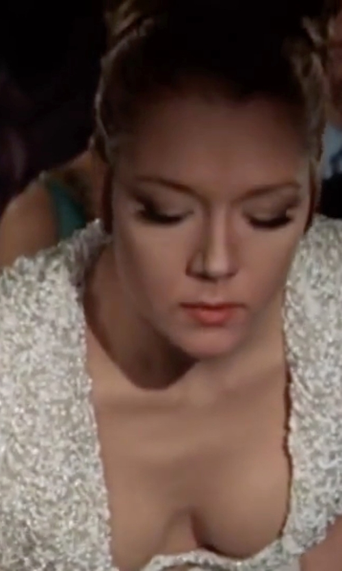 Diana Rigg with Sue Wong Embellished Illusion Back Gown in On Her Majesty's Secret Service