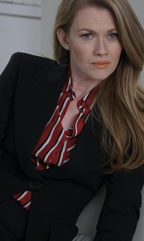Mireille Enos with Elizabeth and James James Fitted Crepe Blazer in The Catch