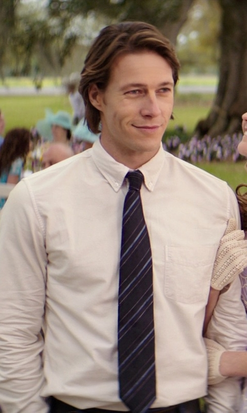 Luke Bracey with Haggar Men's Solid Long Sleeve Dress Shirt in The Best of Me