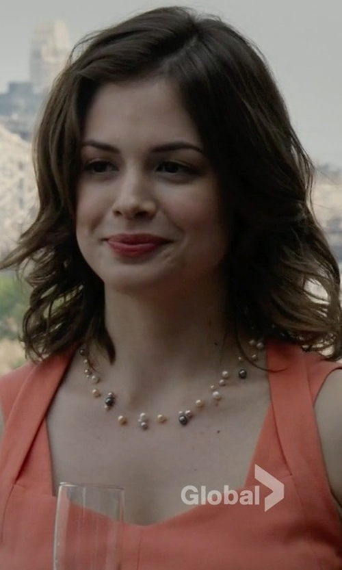 Conor Leslie with Majorica Round Pearl Marquis Link Necklace in The Blacklist