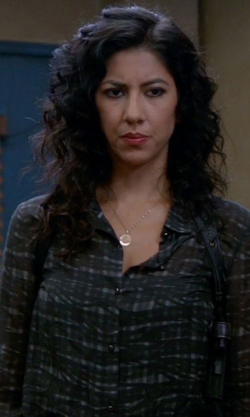 Stephanie Beatriz with The Kooples Print Cotton Blend Shirt in Brooklyn Nine-Nine