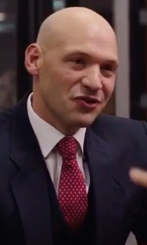 Corey Stoll with Armani Collezioni Woven Neat Silk Tie in Gold