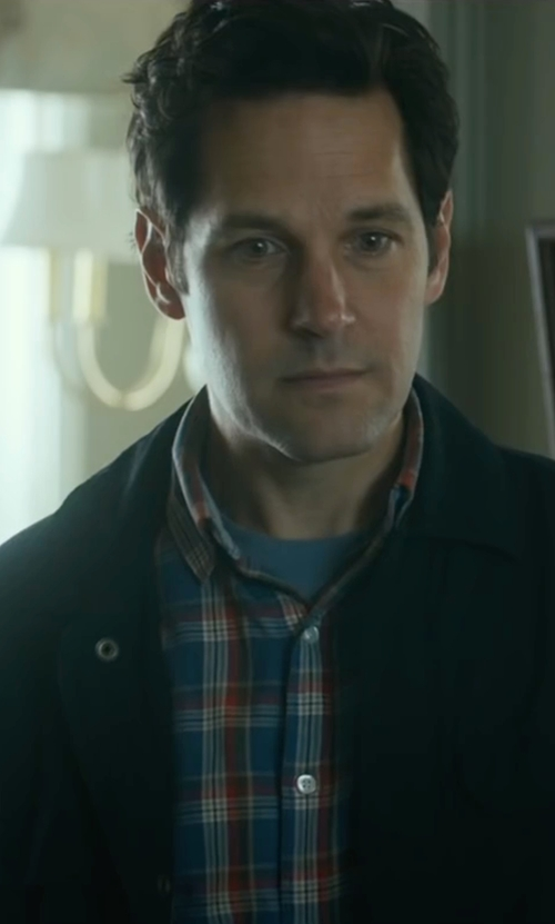 Paul Rudd with Gant Birdie Madras Plaid Shirt in The Fundamentals of Caring