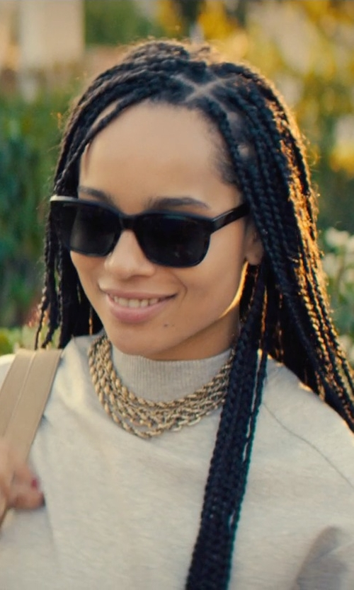 Zoë Kravitz with Ray-Ban New Square Wayfarer Sunglasses in Dope