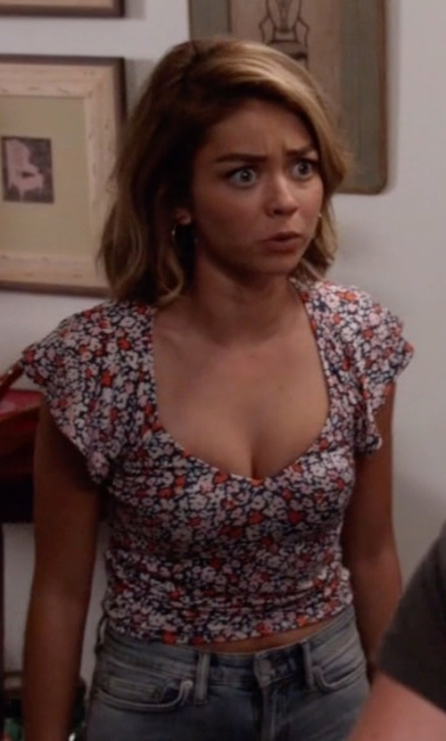 Sarah Hyland with BCBGeneration Ruffle Sleeve Crop Top in Modern Family