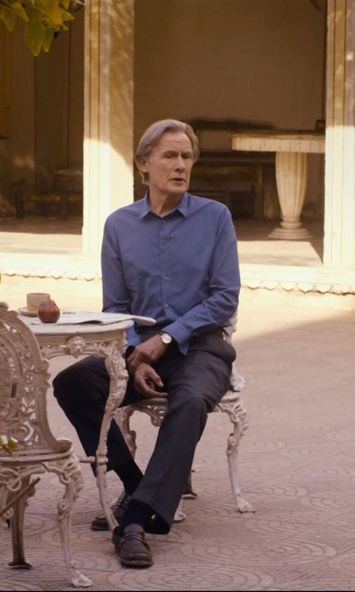 Bill Nighy with Armani Collezioni Solid Dress Shirt in The Second Best Exotic Marigold Hotel