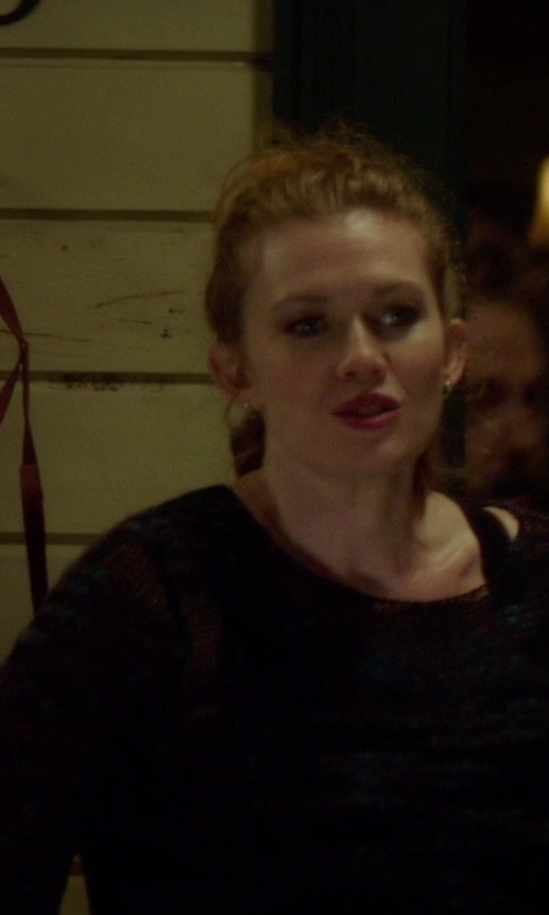 Mireille Enos with Roxy White Shores Poncho Sweater in If I Stay