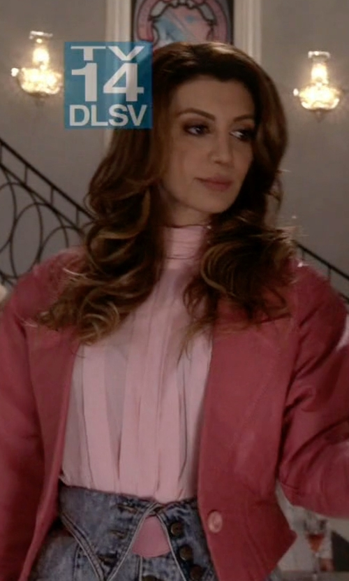 Nasim Pedrad with Chloe Draped Collar Blouse in Scream Queens