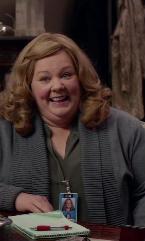 Melissa McCarthy with Pendleton Plus Size Pettygrove Cardigan in Spy
