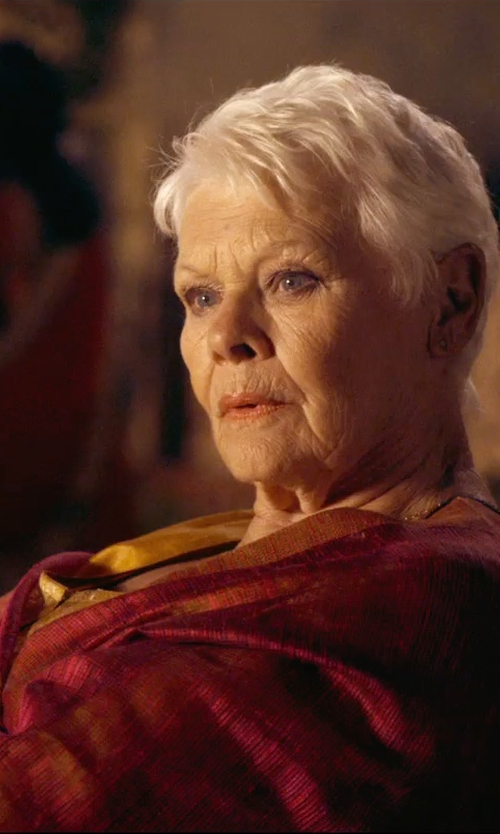 Judi Dench with Swarovski Pebble Rhodium-Plated Cuff Bracelet in The Second Best Exotic Marigold Hotel