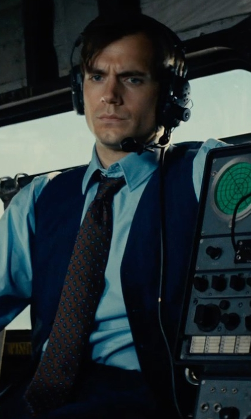 Henry Cavill with Timothy Everest Custom Made Navy Blue Vest in The Man from U.N.C.L.E.