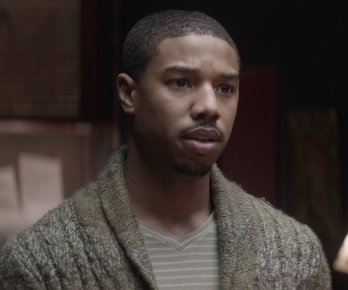 Michael B. Jordan with Lacoste Vintage Wash Striped V-Neck Shirt in That Awkward Moment