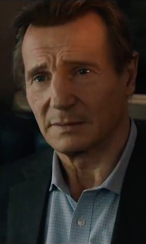 Liam Neeson with Faherty Laguna Check Sport Shirt in The Commuter