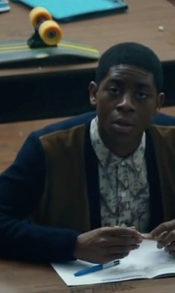 RJ Cyler with Brooks Brothers Suede and Lambswool Cardigan in Power Rangers