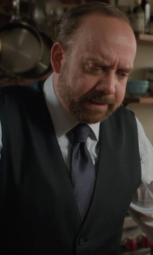 Paul Giamatti with David Donahue Regular Fit Stripe Dress Shirt in Billions