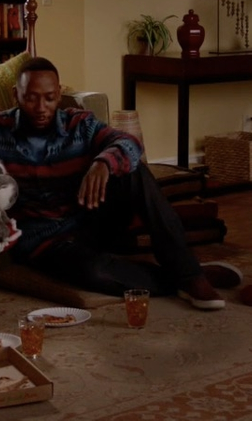 Lamorne Morris with Vince Ace Perforated Suede Skate Sneakers in New Girl