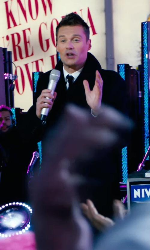 Ryan Seacrest with Burberry Brit Shearling Collar Trench Coat in New Year's Eve