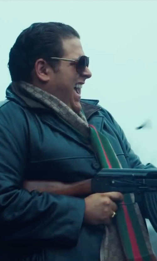Jonah Hill with Schott NYC Pebbled Leather Trucker Jacket in War Dogs