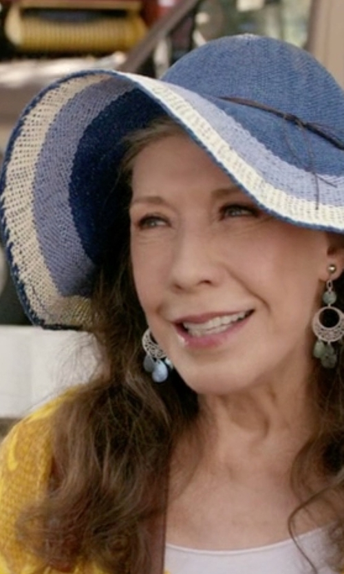 Lily Tomlin with Scala Crocheted Big-Brim Hat in Grace and Frankie