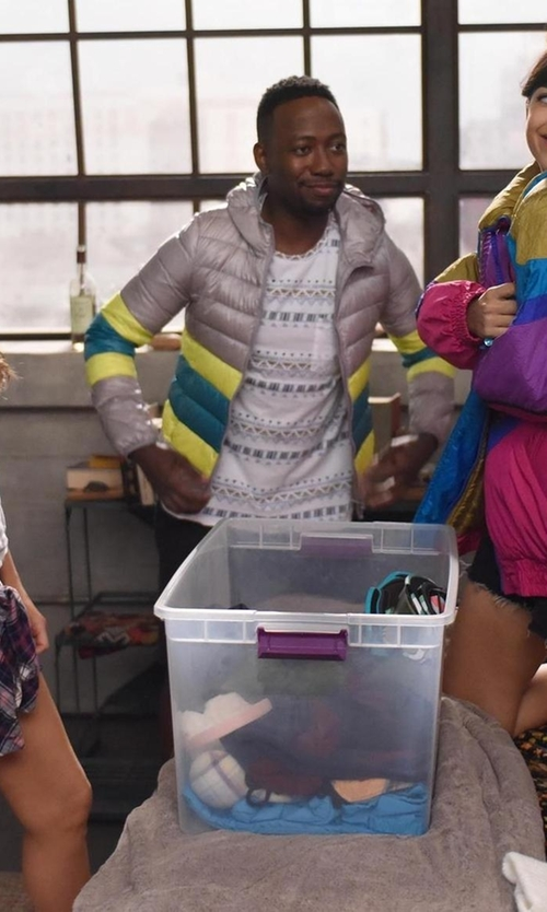 Lamorne Morris with Save The Duck Men's Quilted Puffer Jacket with Hood in New Girl