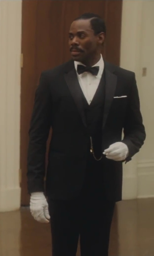 Colman Domingo with Alexander Dobell Men's Stylish Fashion Black Suit Waistcoat in Lee Daniels' The Butler