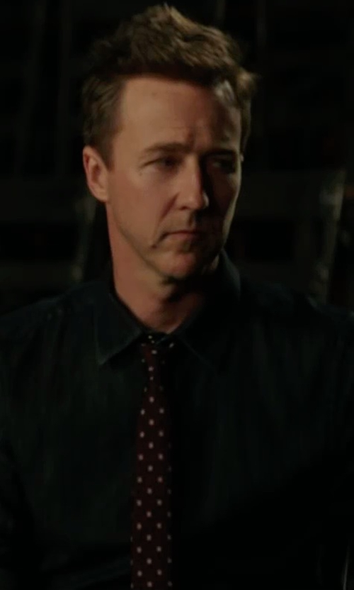 Edward Norton with Ralph Lauren Denim Button-Front Shirt in Collateral Beauty