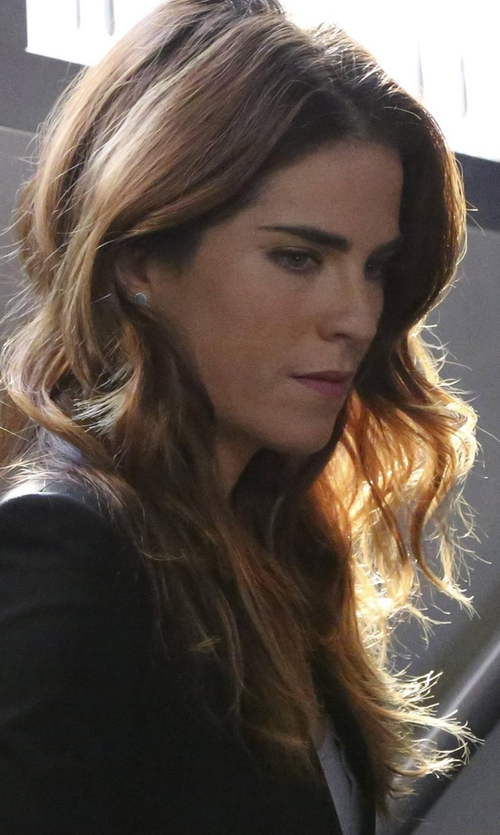 Karla Souza with Lagos Caviar Bezel Button Earrings in How To Get Away With Murder