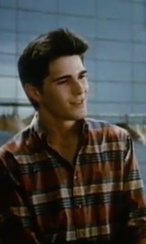 Michael Schoeffling with Brooks Brothers Flannel Graph Plaid Sport Shirt in Sixteen Candles