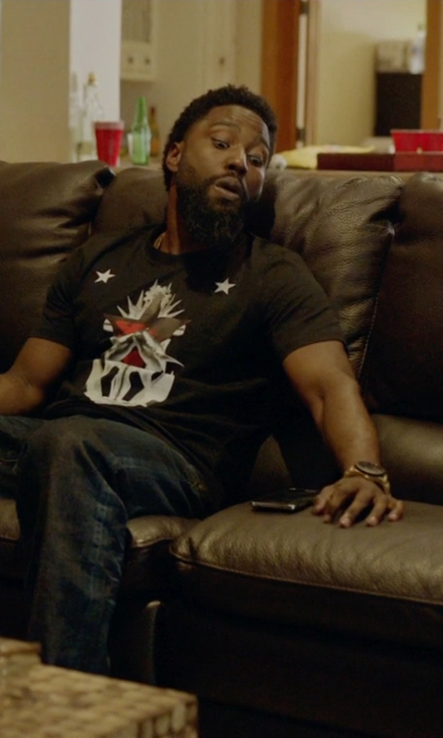 John David Washington with Vivienne Westwood Gold Metal Watch in Ballers