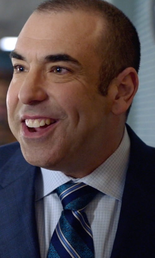 Rick Hoffman with Brioni Grid-Check Dress Shirt in Suits